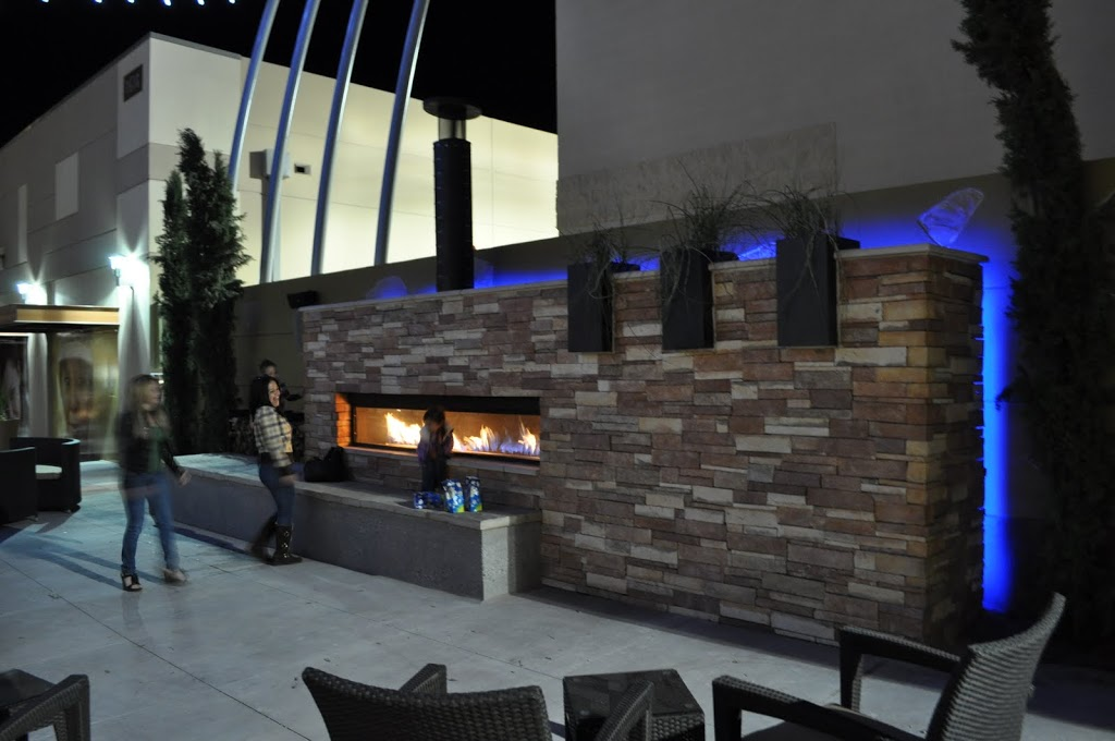 Custom Outdoor Linear Gas Fireplace at US Army Base Acucraft