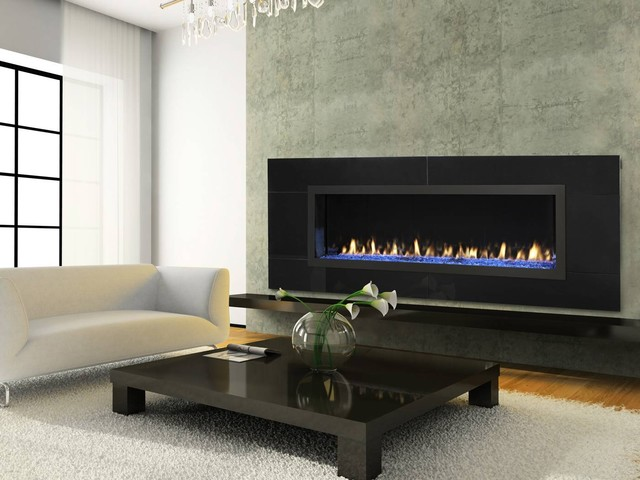 Modern Open Gas Fireplace  No Glass Design Acucraft