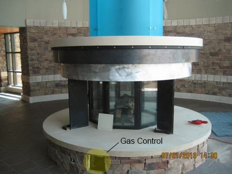 Gas Control on Custom 8-Sided Fireplace