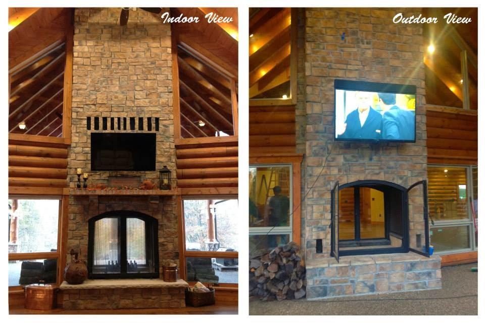 Custom See Through Wood Burning Indoor Outdoor Fireplace | Acucraft