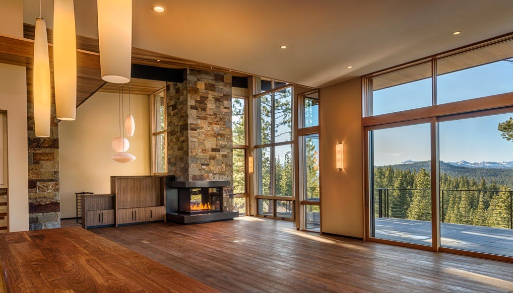 Acucraft Custom Corner Gas Fireplace – Martis Camp Home – Truckee, CA –  Photo courtesy of Crestwood Construction - Custom L-Shaped Fireplace Modern Gas Fireplace By Acucraft