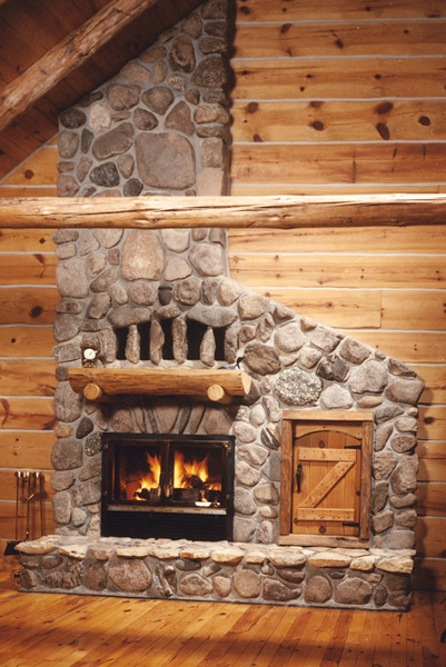 single sided wood burning fireplace with masonry finish
