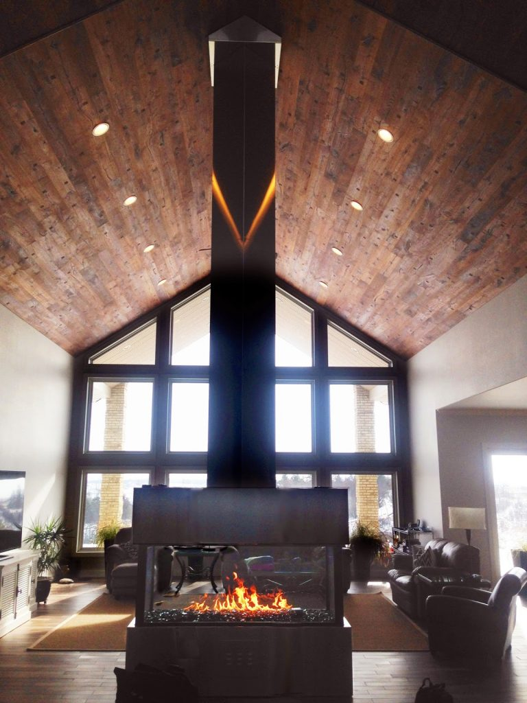 Custom Gas Fireplace in Greatroom