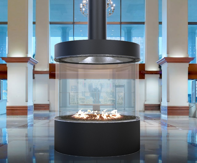 Acucraft Circular Commercial Custom Gas Fireplace