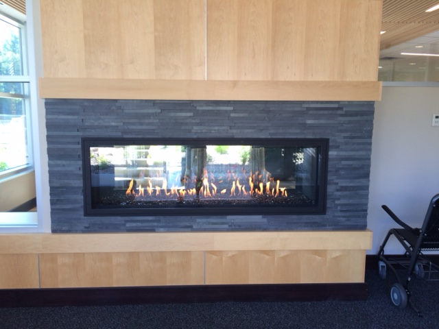Acucraft Custom Gas Linear See Through Fireplace   Minnetonka Medical Center