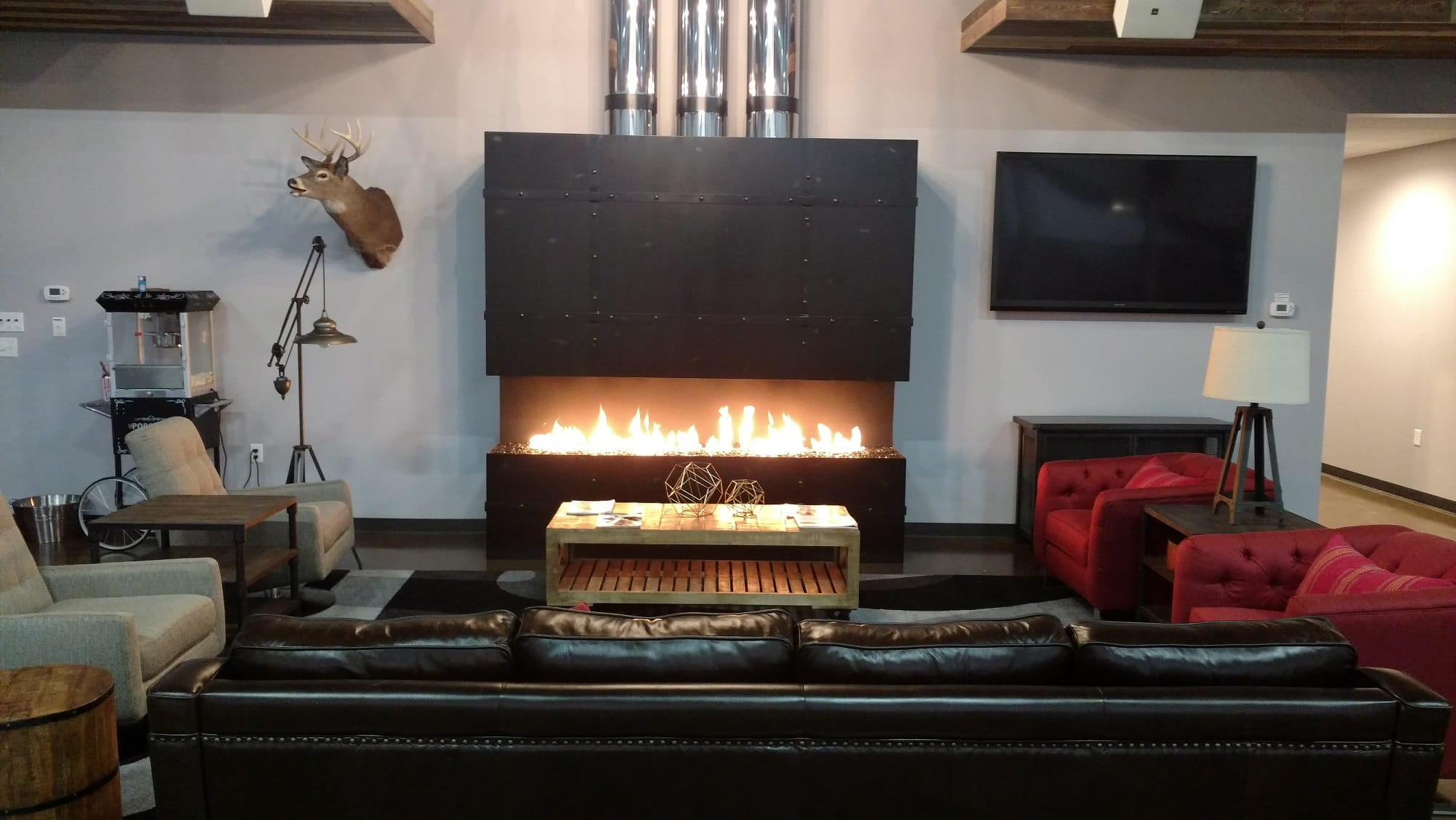 Indoor gas fireplaces designed to exceed your desires. Acucraft gas fireplaces have the tallest flames on the market and can be completely customized!