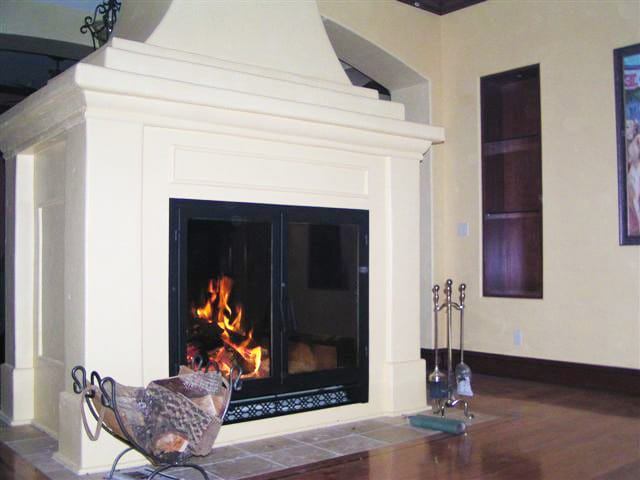 acucraft custom see through wood burning fireplace