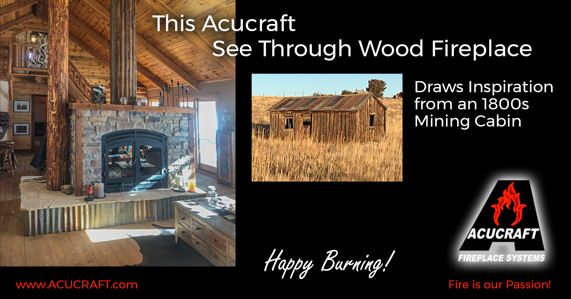 Acucraft See Through Wood Fireplace