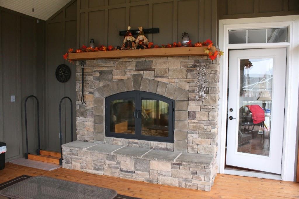Outdoor View of Indoor/Outdoor Wood Fireplace