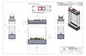 four sided gas fireplace drawing