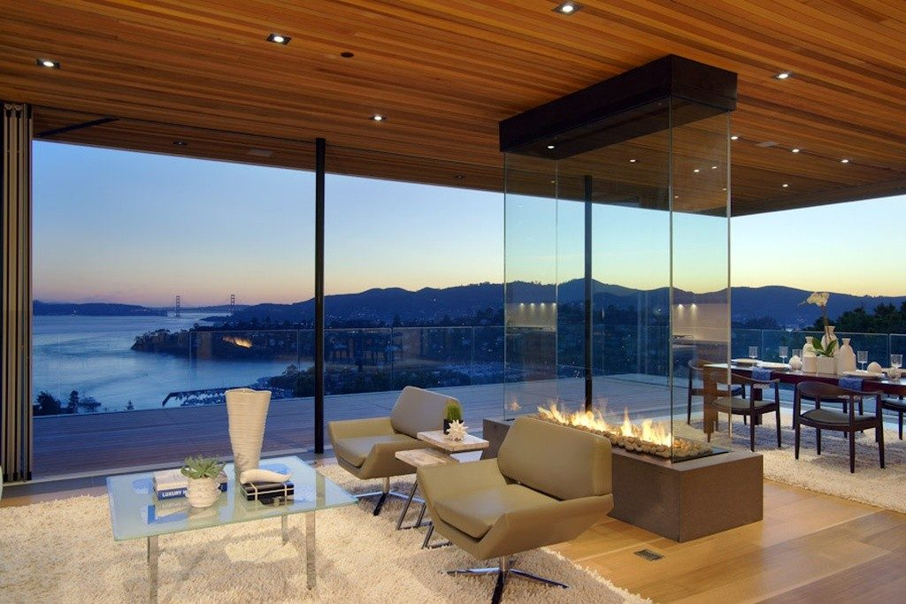 four sided gas fireplace overlooking san francisco bay