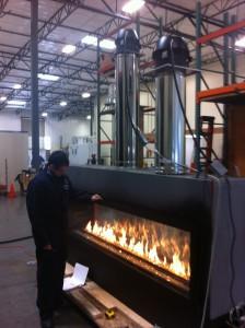Acucraft's Custom Gas Linear Fireplace - UL Testing - Kansas Star Casino