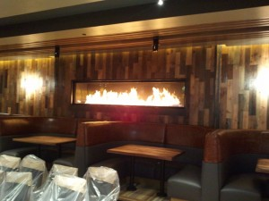 Linear Gas Fireplace in Wood Panel Wall