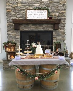 custom wood fireplace in winery