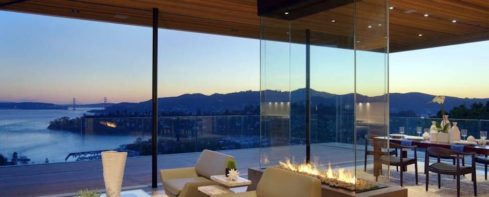 four sided glass fireplace overlooking san francisco bay
