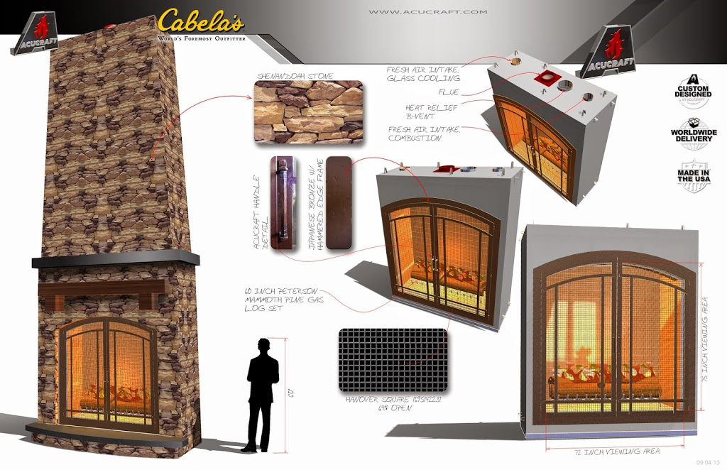Storyboard for Commercial Fireplace Project at Cabela's