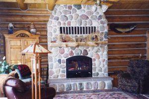 chalet single sided wood burning fireplace with masonry finish
