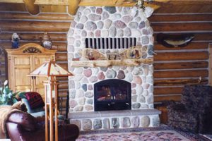 chalet single sided wood burning fireplace with masonry finish