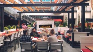 custom outdoor gas fireplace at restaurant