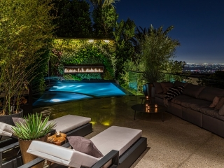 linear outdoor gas fireplace above pool in living wall overlooking downtown los angeles