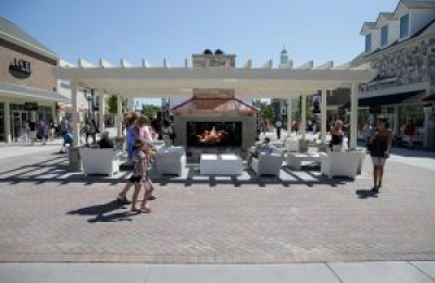 custom gas outdoor gas fireplace in outdoor outlet mall