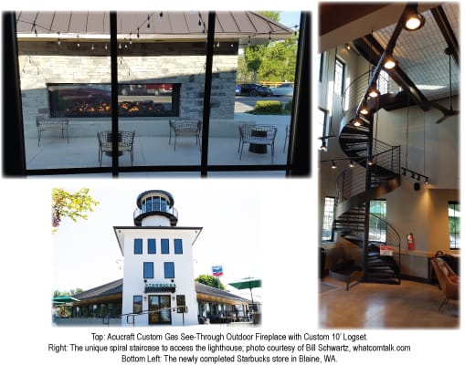acucraft custom gas see through outdoor fireplace for starbucks in blaine washington