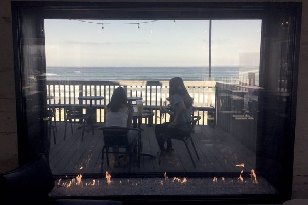 Acucraft Custom Gas See Through INdoor Outdoor Gas Fireplace at Taco Bell Pacifica