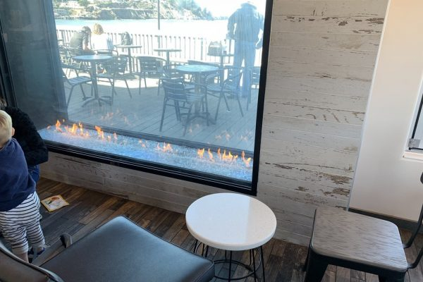 Acucraft Custom Indoor Outdoor Gas Fireplace with Linear Burner Taco Bell Pacifica