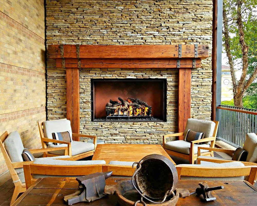 acucraft custom outdoor gas fireplace with logs