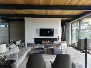 acucraft 3 sided custom open no glass wood fireplace in modern residence