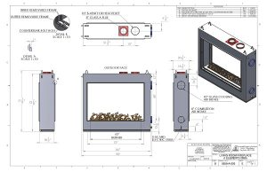 custom linear see through gas fireplace drawing and specifications