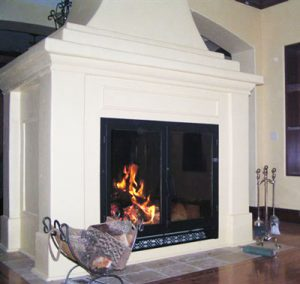 large see through wood burning fireplace in private residence