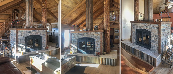 see through wood burning fireplace inside 1800s mining cabin
