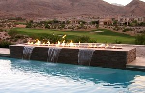 outdoor gas fire table with water feature in pool