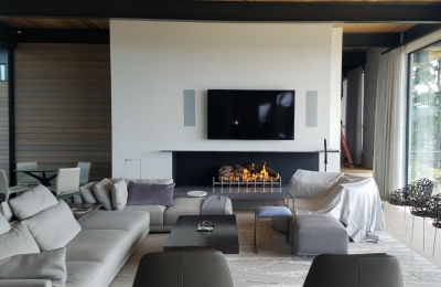 linear gas fireplace with log set and open right view