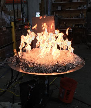 custom gas circular outdoor fire pit in testing