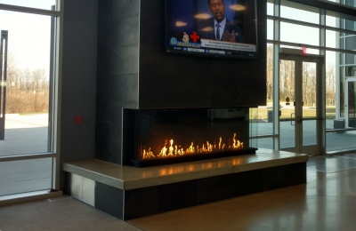 3 sided panoramic gas fireplace
