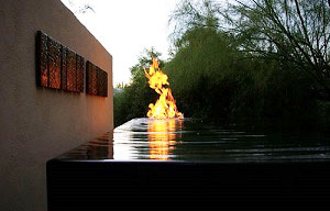 custom fire and water feature in residential pool