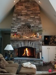 unity single sided wood burning fireplace with open doors in living room