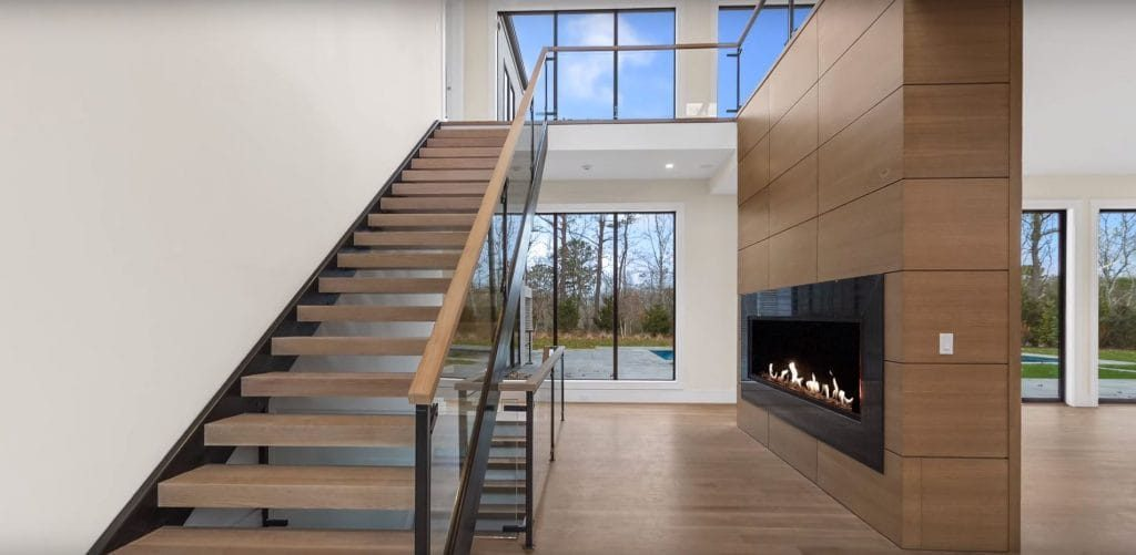 linear see through gas fireplace in modern home