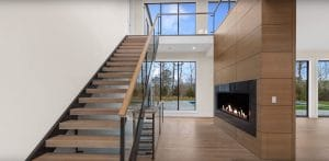 Linear Gas Fireplace with Glass Cooling