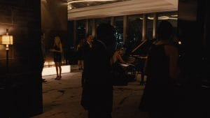 panoramic 3 sided gas fireplace in hbo westworld show