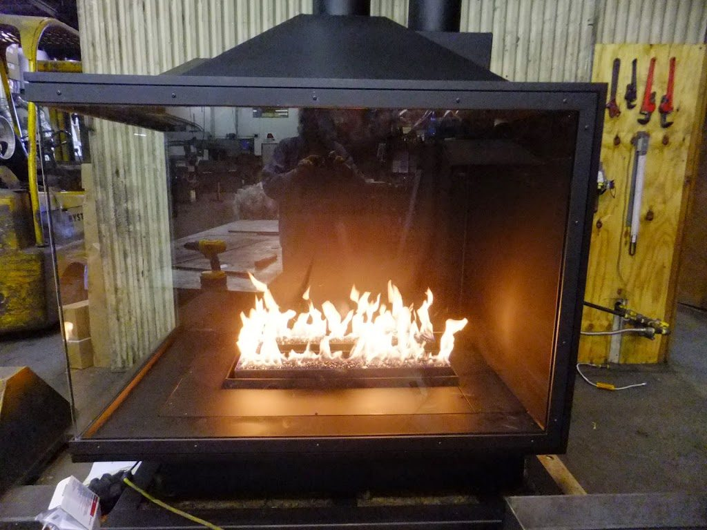 acucraft custom gas corner fireplace being tested
