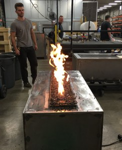 gas fire table being tested and manufactured