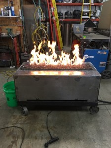 gas fire table being tested