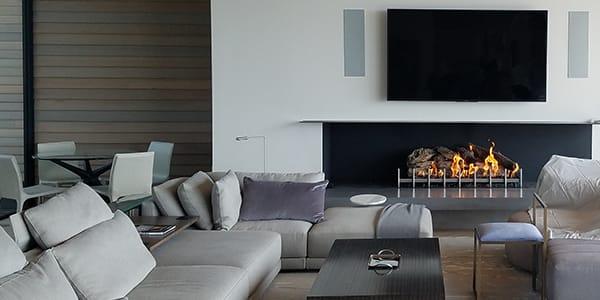 Custom Linear Wood Fireplace