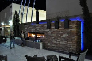 Outdoor Custom Gas Linear Fireplace by Acucraft