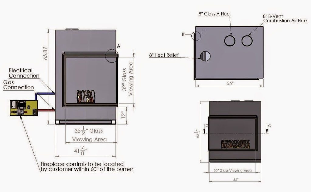 acucraft provided custom corner gas fireplace drawing and specifications