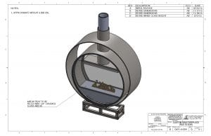 Acucraft Custom Gas Circular Double Ring Fireplace Palomar Hotel Design Drawing 1