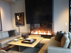 3 sided panoramic gas fireplace in modern living room